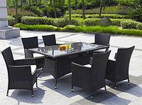 Стол прямоугольный с 6 креслами  коричневый)