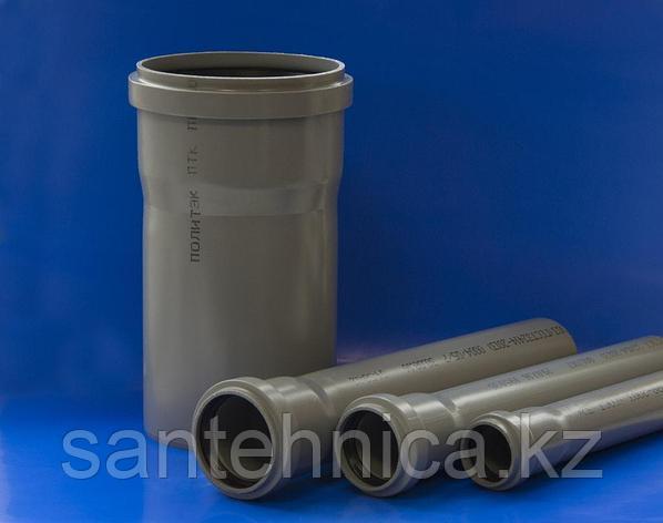 """Труба с раструбом канализационная серая ПП Дн 50*1,5 L=1м """"Политэк"""", фото 2"""