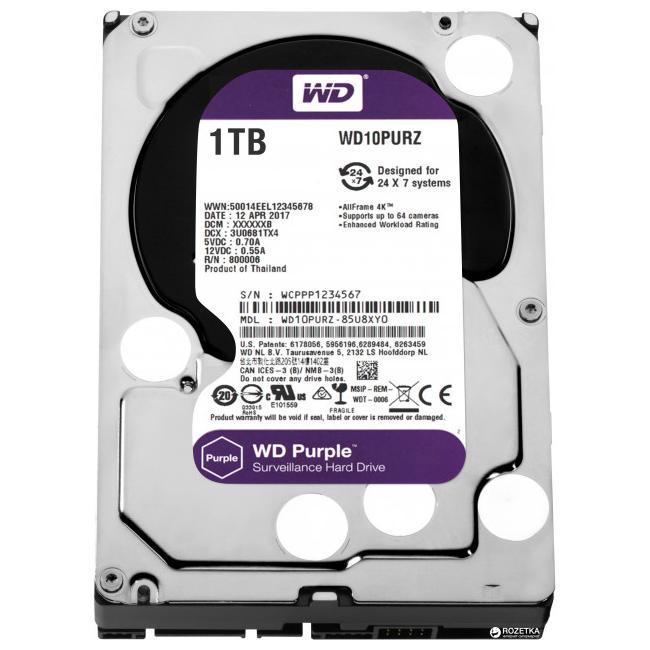 Жесткий диск для видеонаблюдения HDD 1Tb Western Digital Purple WD10PURZ