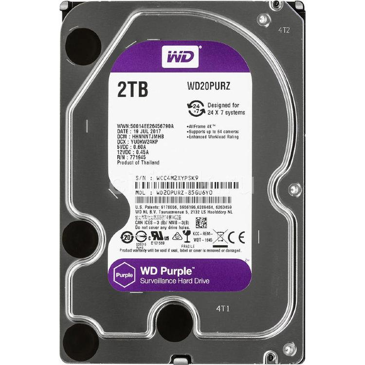 Жесткий диск для видеонаблюдения HDD 2 Tb Western Digital Purple WD20PURZ