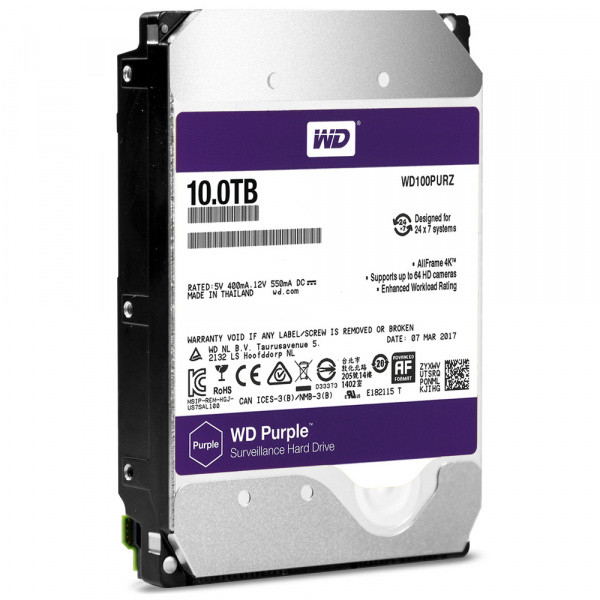 Жесткий диск для видеонаблюдения HDD 10Tb Western Digital Purple WD100PURZ