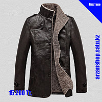 PU Кожаная куртка с толстым ворсистым подкладом коричневого цвета, фото 1