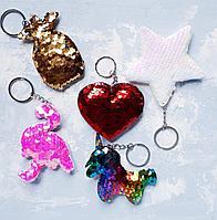 Брелоки блестящие в виде фламинго, единорога, сердца, звезды, ананаса, фото 1