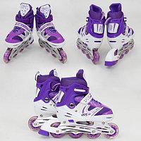 Роликовые коньки Power Superb размер 35-38 Фиолетовый, светящиеся колесо, фото 1