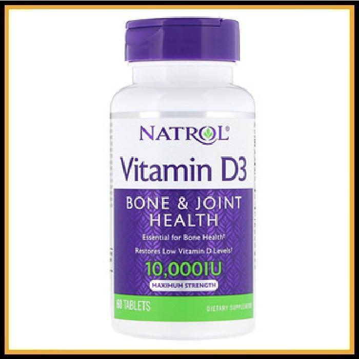 Natrol, Витамин D-3, 10 000 МЕ, 60 таблеток