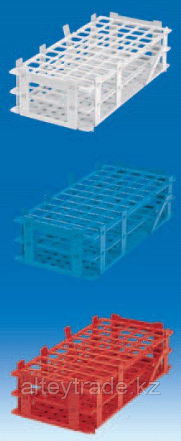 Штатив для пробирок, пластиковый, корзиночного типа, квадратные гнезда (84 гнезда, d пробир-13мм), красный (PP) (VITLAB)