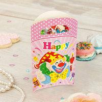 Пакет подарочный 'Клоун', со свечой, 14х24 см, розовый цвет, набор 6 шт.