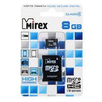 Карта памяти Mirex microSD, 8 Гб, SDHC, класс 4, с адаптером SD