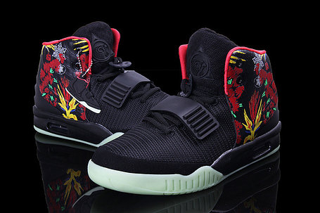 Nike Air Yeezy 2 (Kanye West) рисунок черные, фото 2