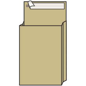 Пакет почтовый B4, UltraPac, 250*353*40мм, коричневый крафт, отр. лента, 130г/м2