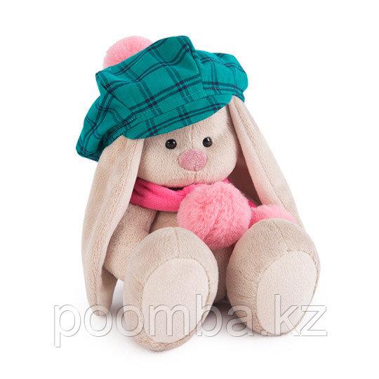 """Мягкая игрушка """"Зайка Ми""""  в зеленой кепке и розовом шарфе (малая)"""