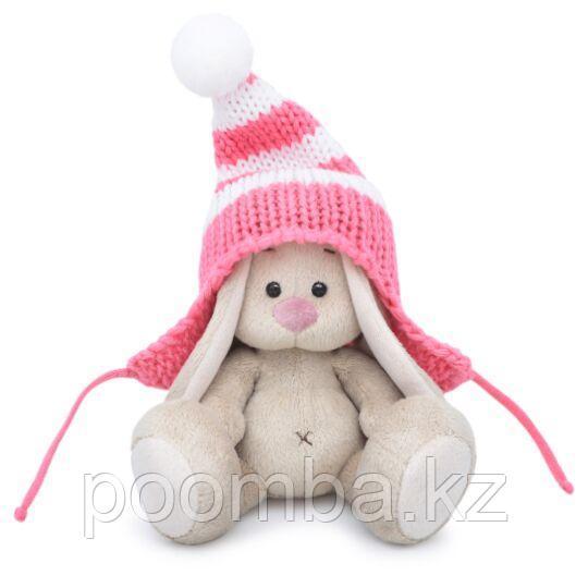 """Мягкая игрушка """"Зайка Ми""""  в полосатой розовой шапке (малыш) 15см"""