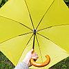 Зонт-трость желтый с деревянной ручкой