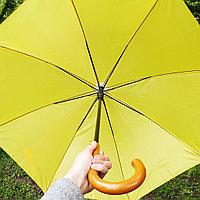 Зонт-трость желтый с деревянной ручкой, фото 1
