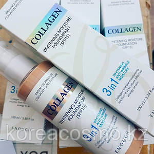 Тональный крем Enough 3 in 1 Collagen Whitening Anti Wrincle Moisture Foundation 100мл