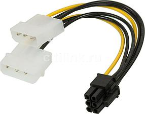 Переходник Molex4-6pin Molex 4 pin (old power) x 2 шт. на 6 pin Video Card Power (0.20 м)