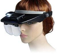 Бинокулярные очки-лупа с комплектом линз и фонариком Light Head Magnifying Glass
