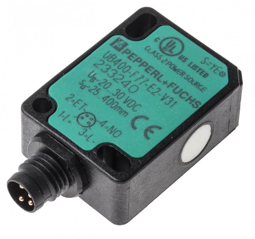 Ультразвуковые бесконтактные датчики UB400-F77-E2-V31 Pepperl + Fuchs Ultrasonic Sensor Block M8 x 1, 25 → 400 mm, PNP-NO, 4-Pin M8 Connector IP67